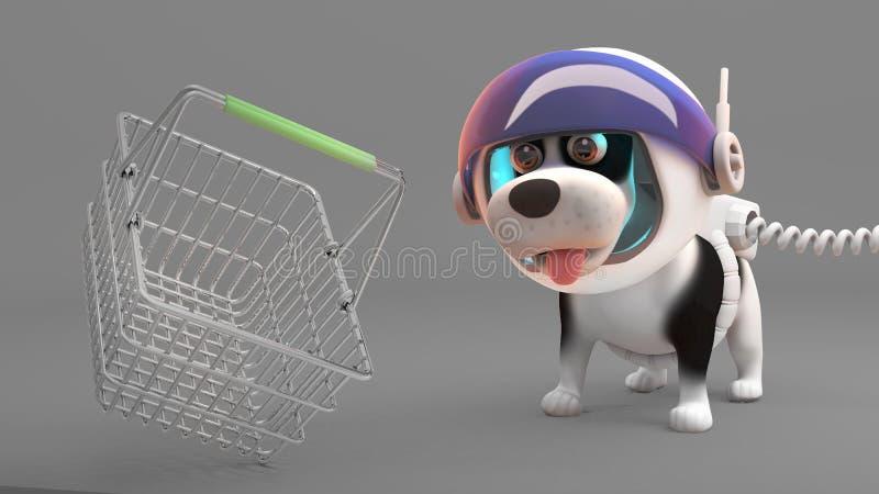 Το χαριτωμένο σκυλί κουταβιών στη φόρμα αστροναύτη εξετάζει ένα επιπλέον καλάθι αγορών, τρισδιάστατη απεικόνιση ελεύθερη απεικόνιση δικαιώματος