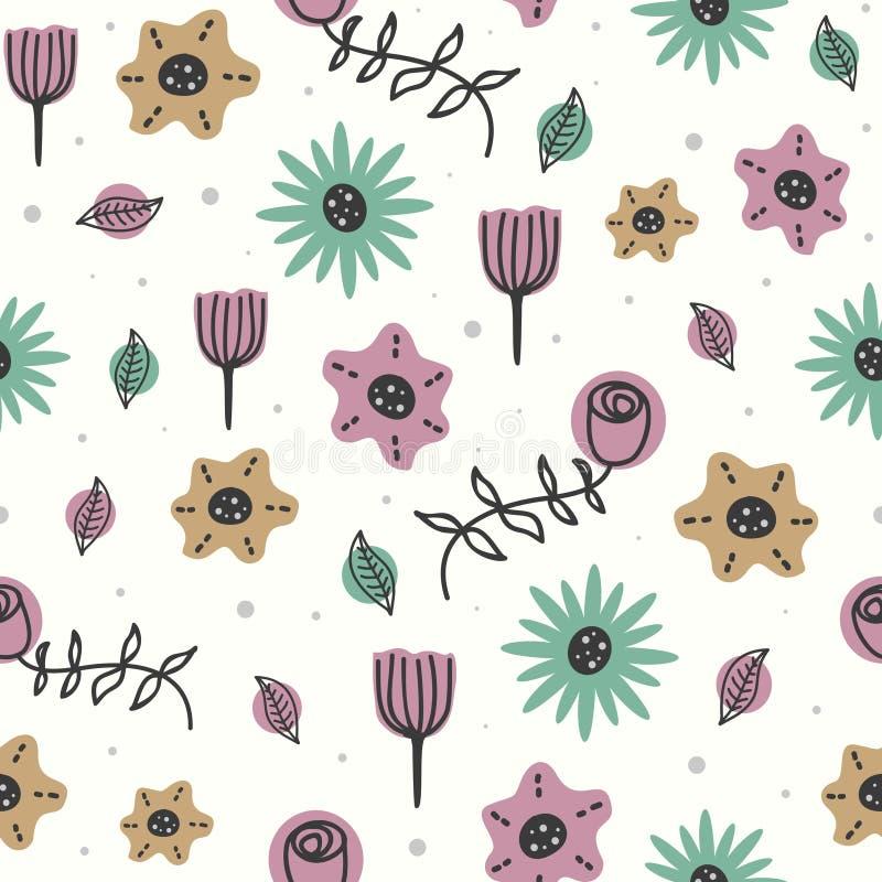 Το χαριτωμένο σχέδιο λουλουδιών με το άνευ ραφής σχέδιο του Σκανδιναβικού ύφους για το μωρό και τα παιδιά διαμορφώνουν την υφαντι διανυσματική απεικόνιση