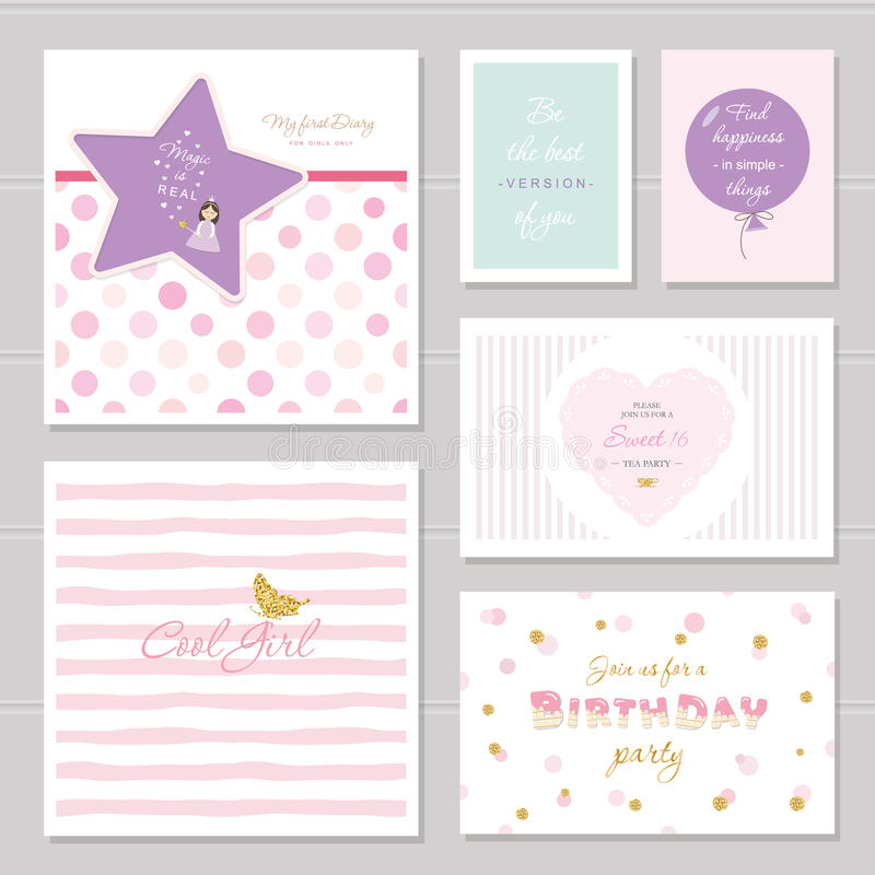Το χαριτωμένο σχέδιο καρτών με ακτινοβολεί για τα έφηβη Εμπνευσμένα αποσπάσματα, γενέθλια, γλυκιά πρόσκληση 16 κομμάτων συμπεριλα ελεύθερη απεικόνιση δικαιώματος