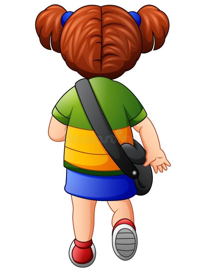 Το χαριτωμένο σχολικό κορίτσι πηγαίνει στο σχολείο ελεύθερη απεικόνιση δικαιώματος