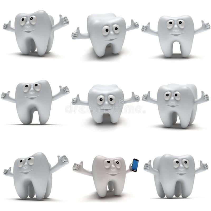Το χαριτωμένο υγιές δόντι με τα χέρια παρουσιάζει αντίχειρες ελεύθερη απεικόνιση δικαιώματος