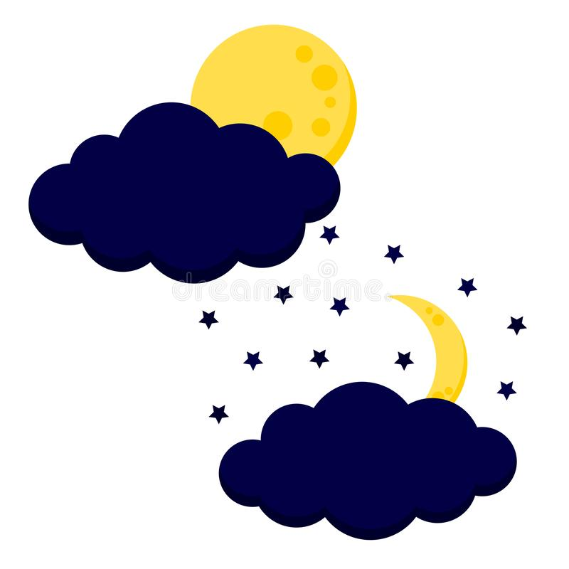 Το χαριτωμένο φεγγάρι νύχτας με το εικονίδιο σύννεφων έθεσε: πανσέληνος και ημισέληνος με τα αστέρια απεικόνιση αποθεμάτων