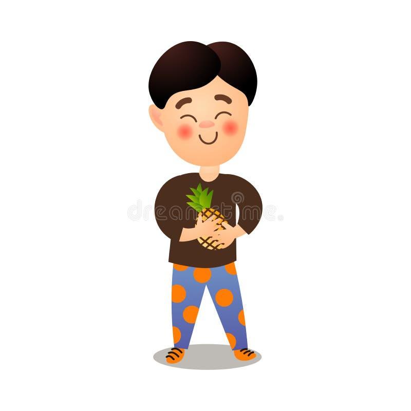 Το χαριτωμένο χαμογελώντας ευτυχές αγόρι παίρνει το φρέσκο ανανά eco απεικόνιση αποθεμάτων
