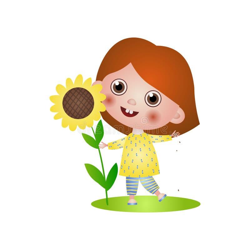 Το χαριτωμένο χαμογελώντας παιδί κοριτσιών βρίσκει μεγάλες εγκαταστάσεις του ηλίανθου διανυσματική απεικόνιση