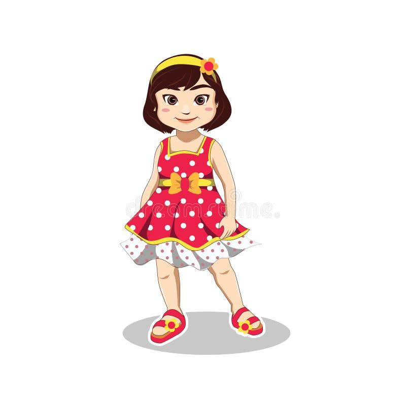 Το χαριτωμένο χαμογελώντας μικρό κορίτσι φορά το αμάνικες φόρεμα, headband και την παντόφλα στις θερινές διακοπές απεικόνιση αποθεμάτων