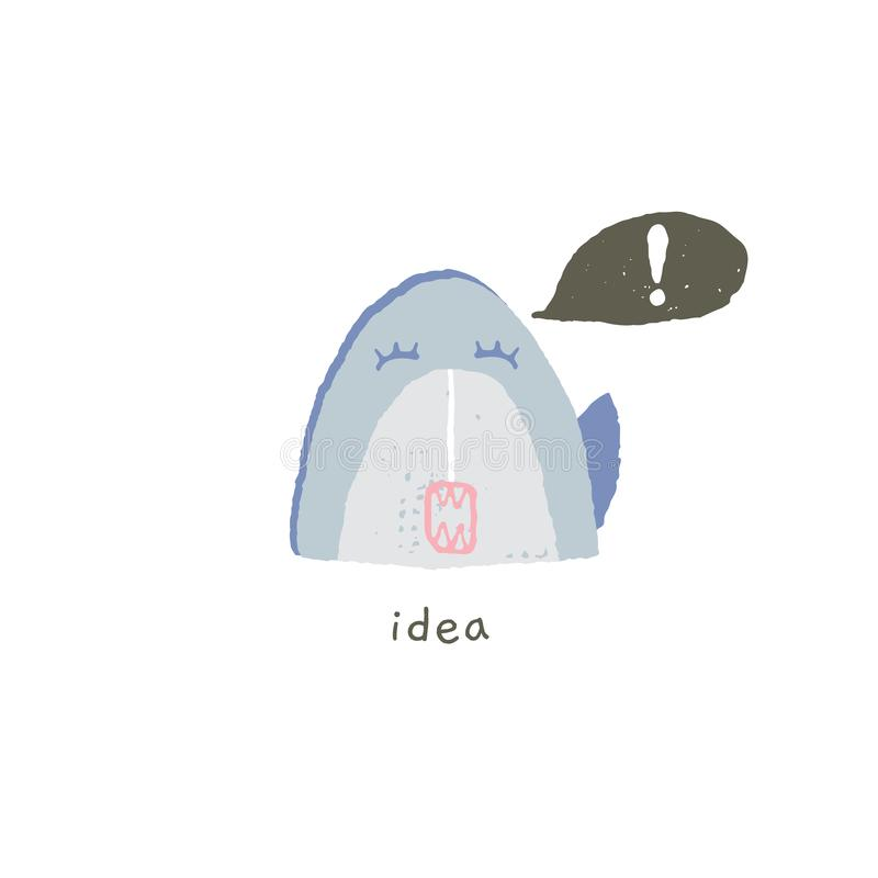Το χαριτωμένο χαμόγελο καρχαριών έχει μια ιδέα Διανυσματικό συρμένο χέρι emoji διανυσματική απεικόνιση