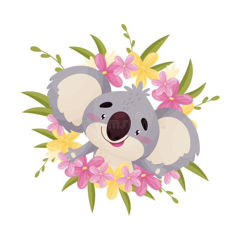 Το χαριτωμένο koala κινούμενων σχεδίων κοιτάζει έξω από το κέντρο του στεφανιού E ελεύθερη απεικόνιση δικαιώματος