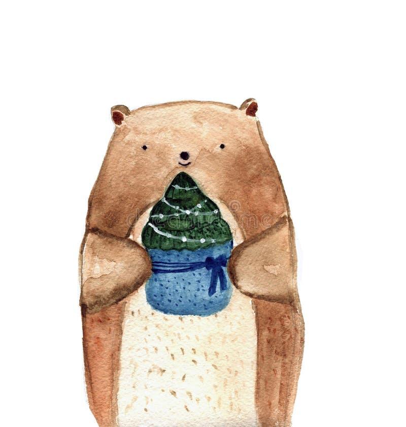 Το χαριτωμένο watercolor αντέχει το κομψό δέντρο Χριστουγέννων invitation new year ελεύθερη απεικόνιση δικαιώματος