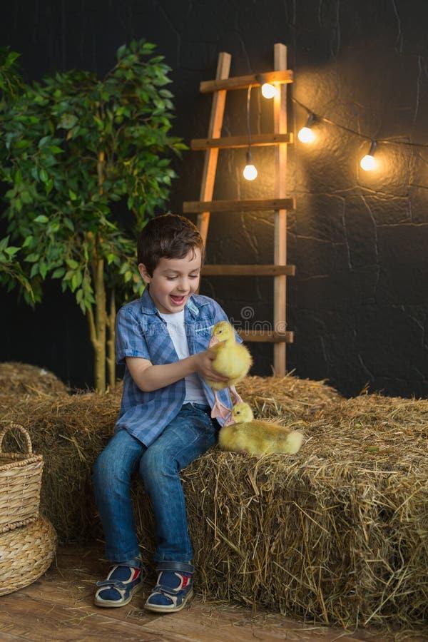 Το χαρούμενο αγόρι σε ένα μπλε ντύνει το κράτημα ενός χηναριού στο αγρόκτημα στοκ φωτογραφίες με δικαίωμα ελεύθερης χρήσης