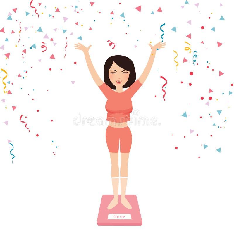 Το χαλαρό βάρος διατροφής κοριτσιών γυναικών επιτυχίας ευτυχές γιορτάζει το λεπτό έλεγχο μέτρησης ελεύθερη απεικόνιση δικαιώματος