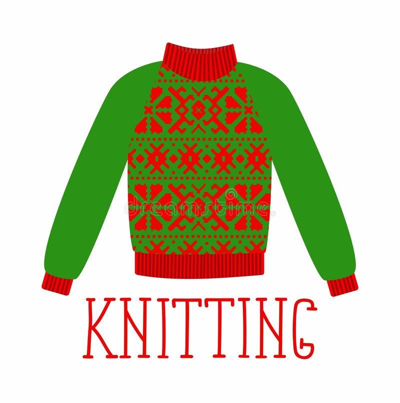 Το χειμερινό θερμό πουλόβερ με μια διακόσμηση, γλυκός πυροβολισμός, άλτης για πλέκει, κόκκινο και πράσινο χρώμα ελεύθερη απεικόνιση δικαιώματος