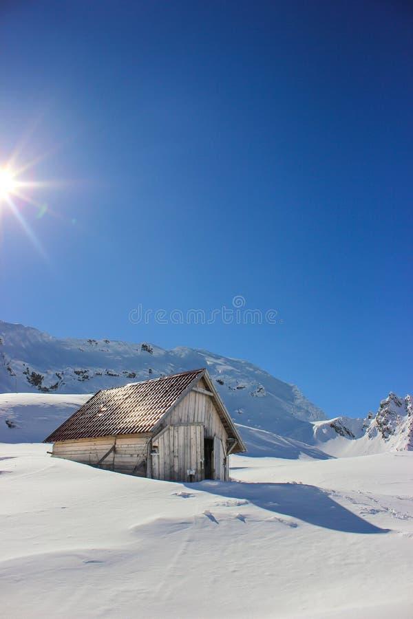 Το χειμερινό τοπίο με ξύλινο στη λίμνη Balea, νομός του Sibiu, Ρουμανία στοκ φωτογραφία με δικαίωμα ελεύθερης χρήσης