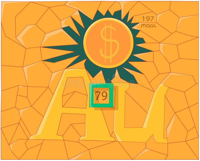 """Το χημικό στοιχείο """"χρυσός """"απεικονίζεται με δύο γράμματα """"Α """"και """"Υ """" απεικόνιση αποθεμάτων"""