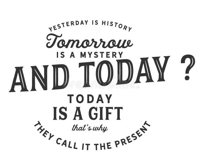 Το χθες είναι ιστορία, είναι αύριο ένα μυστήριο, είναι σήμερα ένα δώρο του Θεού αυτός είναι ο λόγος για τον οποίο την καλούμε παρ απεικόνιση αποθεμάτων
