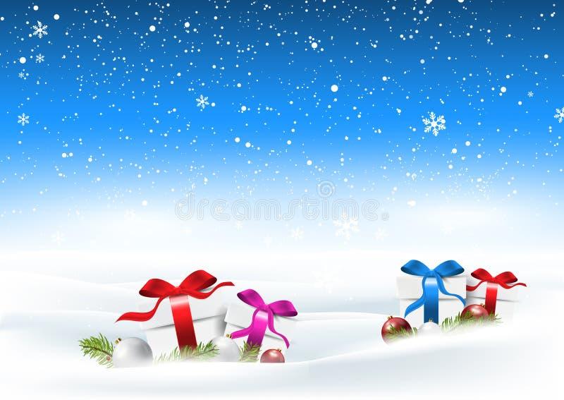 Το χιονώδες τοπίο Χριστουγέννων με τα δώρα στο χιόνι απεικόνιση αποθεμάτων