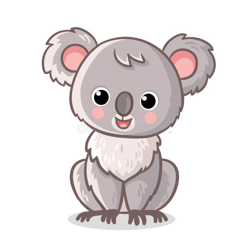 Το χνουδωτό koala κάθεται σε ένα άσπρο υπόβαθρο Χαριτωμένο ζώο στο ύφος κινούμενων σχεδίων ελεύθερη απεικόνιση δικαιώματος