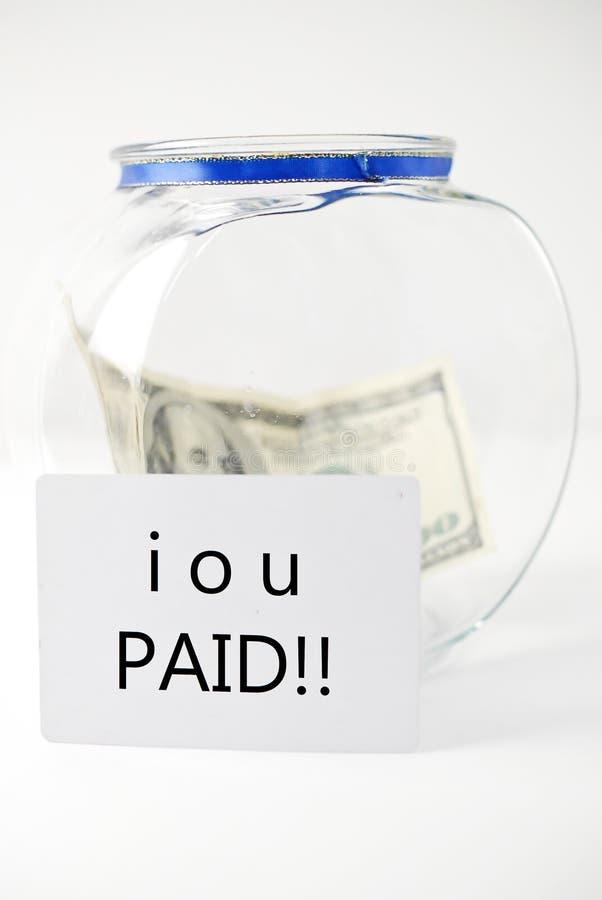 το χρέος από πλήρωσε το σα&s στοκ φωτογραφία με δικαίωμα ελεύθερης χρήσης