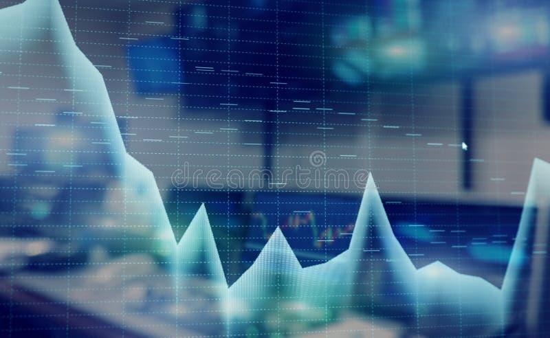 Το χρηματιστήριο αναφέρει τη γραφική παράσταση Διπλό υπόβαθρο μέσων έκθεσης μικτό περίληψη διανυσματική απεικόνιση