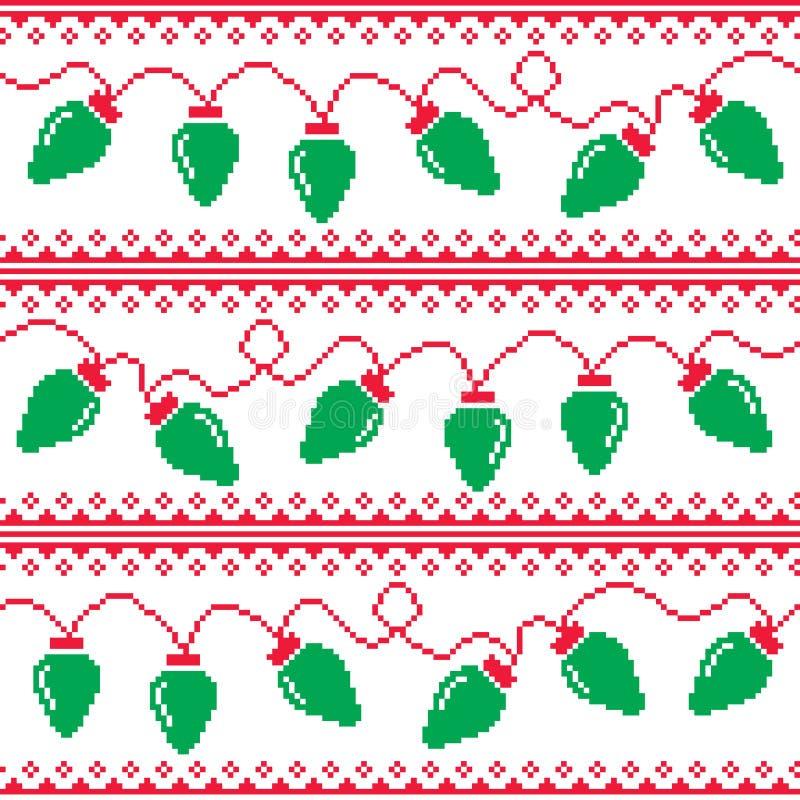 Το χριστουγεννιάτικο δέντρο ανάβει το άνευ ραφής σχέδιο, άσχημο ύφος πουλόβερ Χριστουγέννων ελεύθερη απεικόνιση δικαιώματος