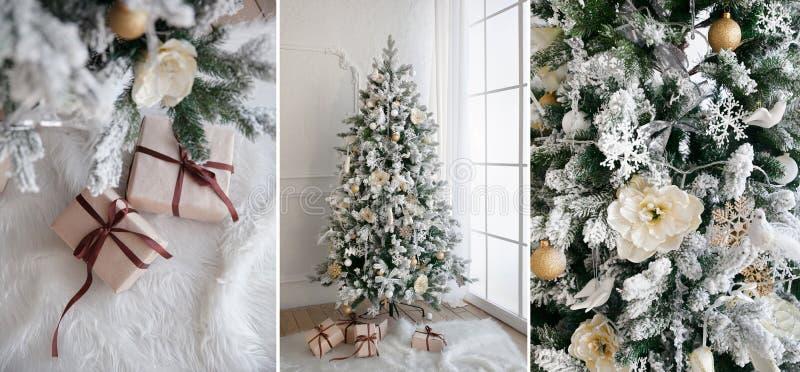 Το χριστουγεννιάτικο δέντρο με παρουσιάζει κάτω από στο καθιστικό στοκ φωτογραφία με δικαίωμα ελεύθερης χρήσης