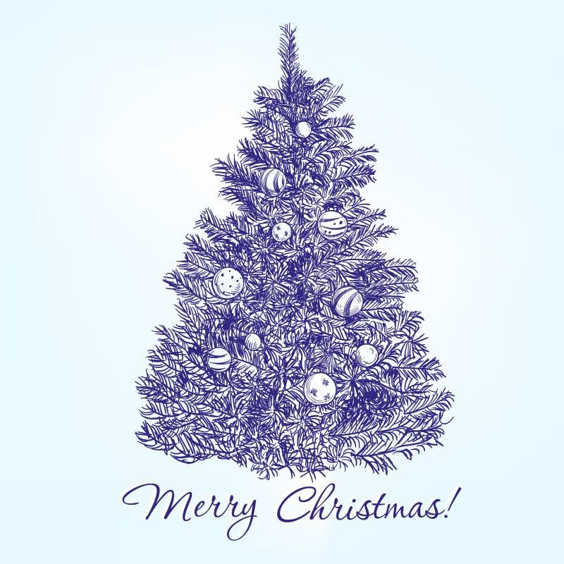 Το χριστουγεννιάτικο δέντρο με τις σφαίρες δίνει το συρμένο διάνυσμα ελεύθερη απεικόνιση δικαιώματος