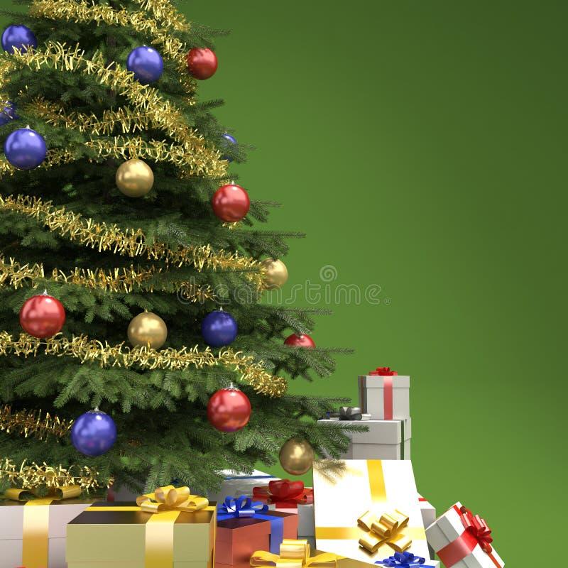Το χριστουγεννιάτικο δέντρο με παρουσιάζει τη λεπτομέρεια ελεύθερη απεικόνιση δικαιώματος