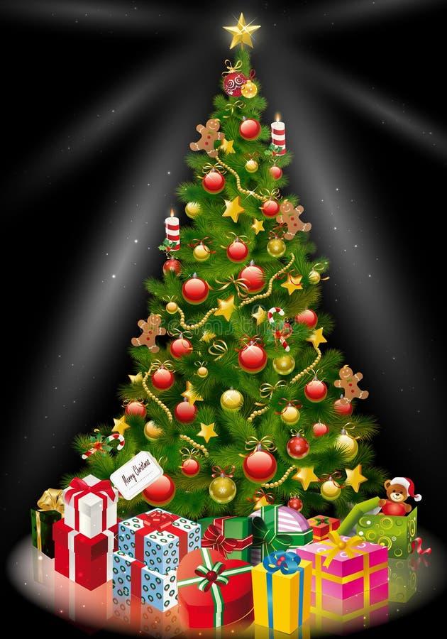 Το χριστουγεννιάτικο δέντρο με τυλιγμένος παρουσιάζει κάτω από το ελεύθερη απεικόνιση δικαιώματος