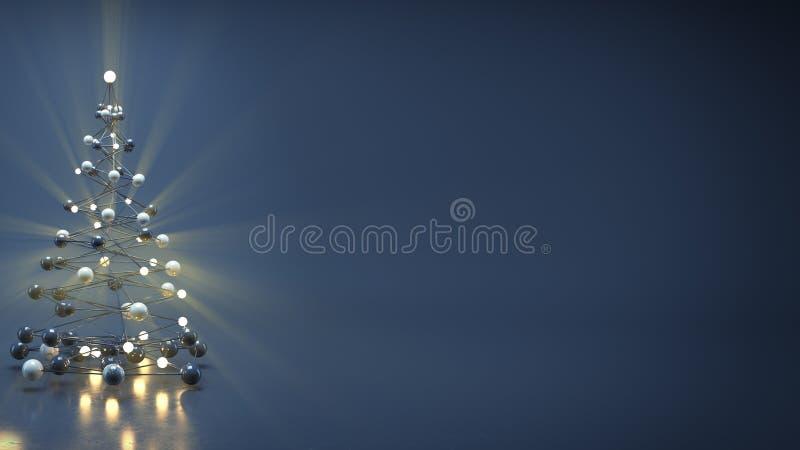 Το χριστουγεννιάτικο δέντρο sci-Fi και ελεύθερου χώρου τρισδιάστατος δίνουν ελεύθερη απεικόνιση δικαιώματος
