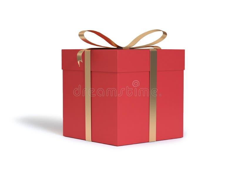 Το χρυσό άσπρο υπόβαθρο κιβωτίων δώρων κορδελλών κόκκινο τρισδιάστατο δίνει, νέα έννοια έτους Χριστουγέννων διακοπών απεικόνιση αποθεμάτων