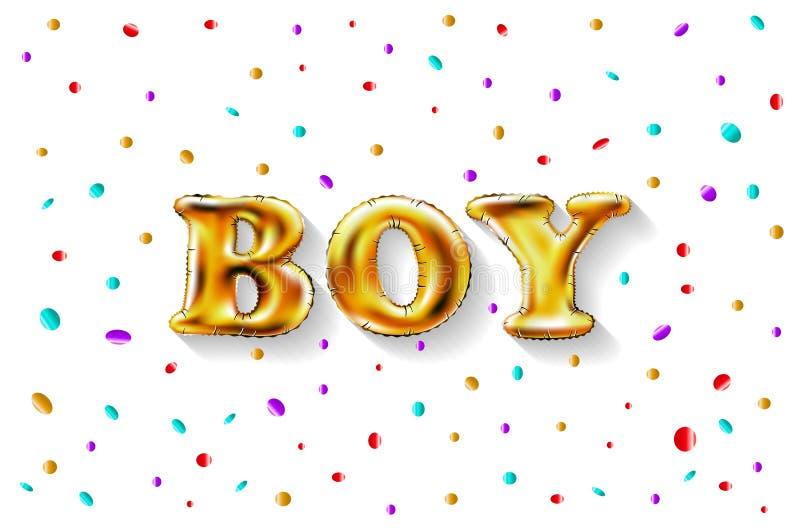 Το χρυσό αγόρι επιστολών λάμπει στιλπνά μεταλλικά μπαλόνια χρόνια πολλά χαρακτήρες Για τον εορτασμό, κόμμα, ημερομηνία, πρόσκληση διανυσματική απεικόνιση
