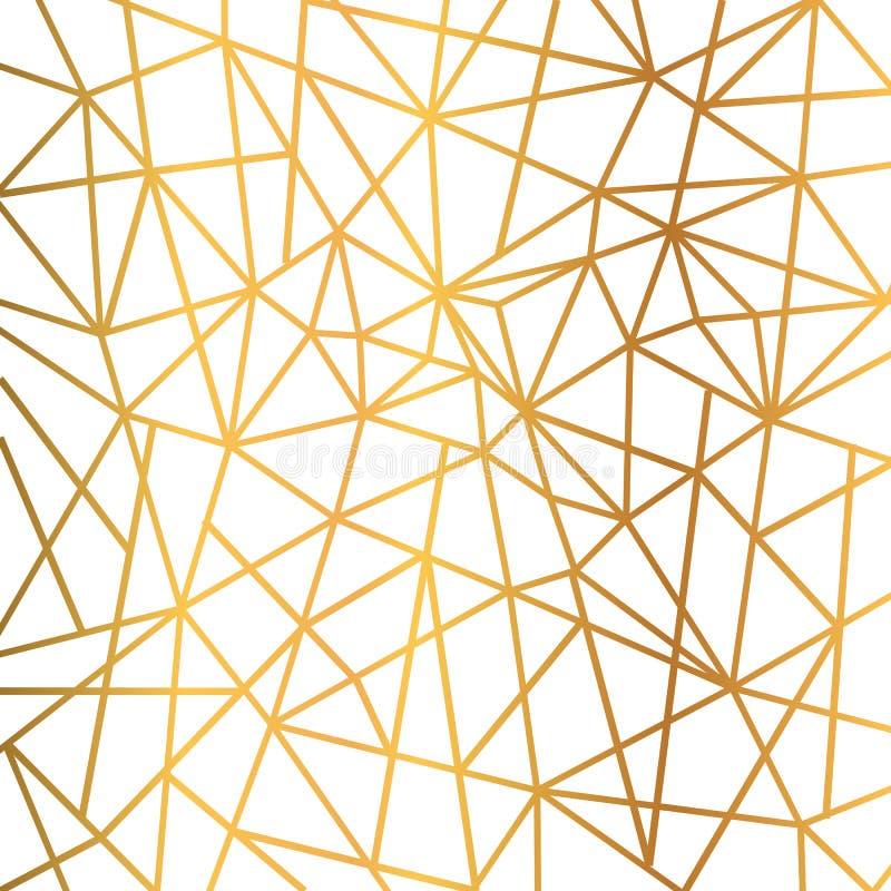 Το χρυσό γεωμετρικό άνευ ραφής μωσαϊκό τριγώνων καλωδίων φύλλων αλουμινίου επαναλαμβάνει το υπόβαθρο σχεδίων - διάνυσμα ελεύθερη απεικόνιση δικαιώματος