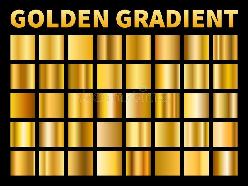 Χρυσές κλίσεις Το χρυσό μέταλλο τετραγώνων σχολιάζει swatches κλίσης, κενό μεταλλικό κίτρινο πλαίσιο πιάτων, σύσταση ετικετών r διανυσματική απεικόνιση
