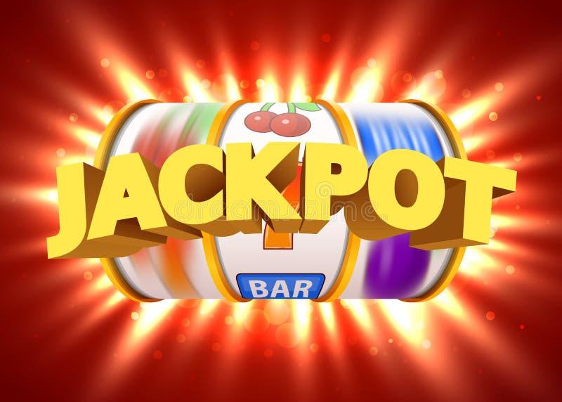 Το χρυσό μηχάνημα τυχερών παιχνιδιών με κέρματα κερδίζει το τζακ ποτ Μεγάλος κερδίστε την έννοια Τζακ ποτ χαρτοπαικτικών λεσχών απεικόνιση αποθεμάτων