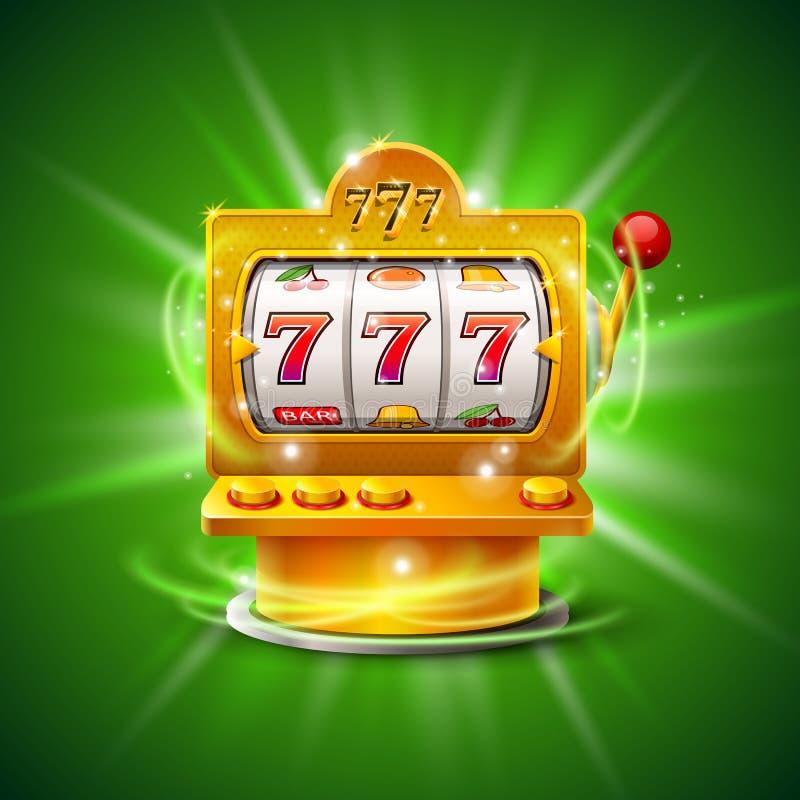 Το χρυσό μηχάνημα τυχερών παιχνιδιών με κέρματα κερδίζει το τζακ ποτ Στην πράσινη ανασκόπηση επίσης corel σύρετε το διάνυσμα απει διανυσματική απεικόνιση