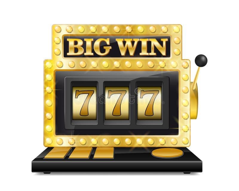 Το χρυσό μηχάνημα τυχερών παιχνιδιών με κέρματα κερδίζει το τζακ ποτ τυχερά επτά στο παιχνίδι παιχνιδιού που απομονώνεται στο άσπ διανυσματική απεικόνιση