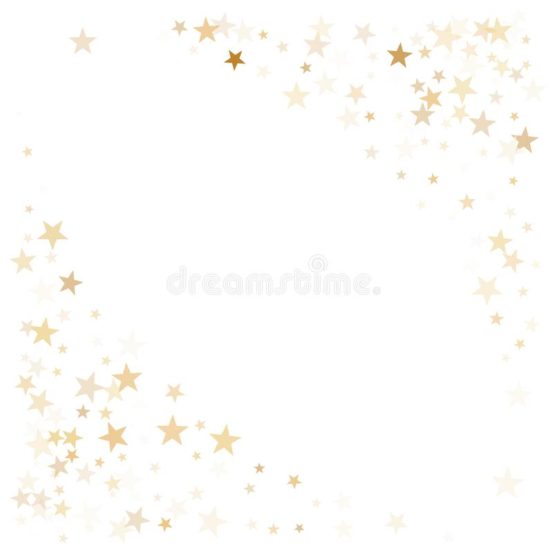 Το χρυσό πετάγματος αστεριών διάνυσμα πλαισίων διακοπών κομφετί μαγικό, ασφάλιστρο λαμπιρίζει υπόβαθρο συνόρων αισθήσεων μαγείας διανυσματική απεικόνιση