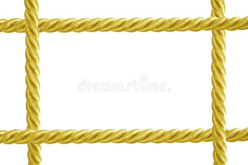 Το χρυσό πλαίσιο σχοινιών που απομονώνεται στο άσπρο υπόβαθρο στοκ φωτογραφία με δικαίωμα ελεύθερης χρήσης