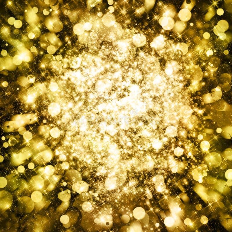 Το χρυσό σπινθήρισμα ακτινοβολεί υπόβαθρο στοκ εικόνες