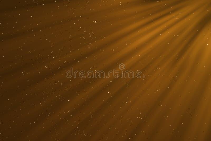 το χρυσό σπινθήρισμα κλίσης Χριστουγέννων ακτινοβολεί μόρια σκόνης από την κορυφή στο μαύρο υπόβαθρο με το bokeh που ρέουν και το απεικόνιση αποθεμάτων