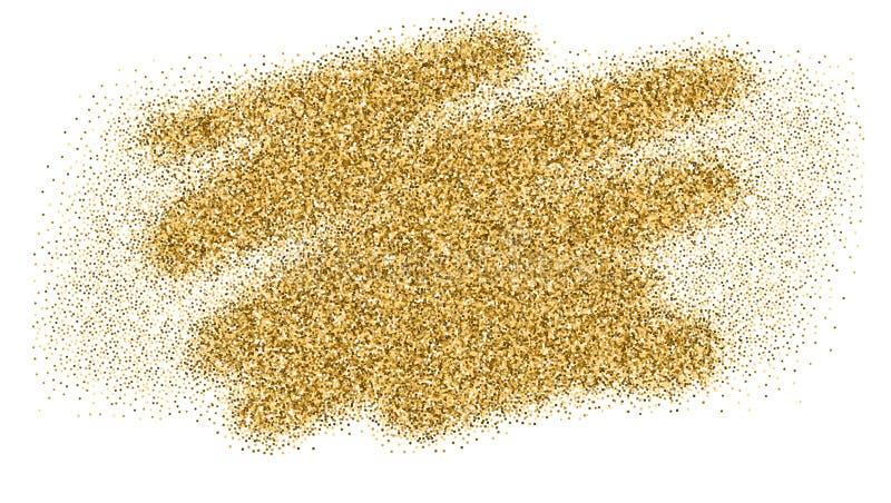 Το χρυσό σπινθήρισμα πολυτέλειας ακτινοβολεί σύσταση, που απομονώνεται στο λευκό Τολμηρά κτυπήματα βουρτσών με τη σύσταση της χρυ απεικόνιση αποθεμάτων