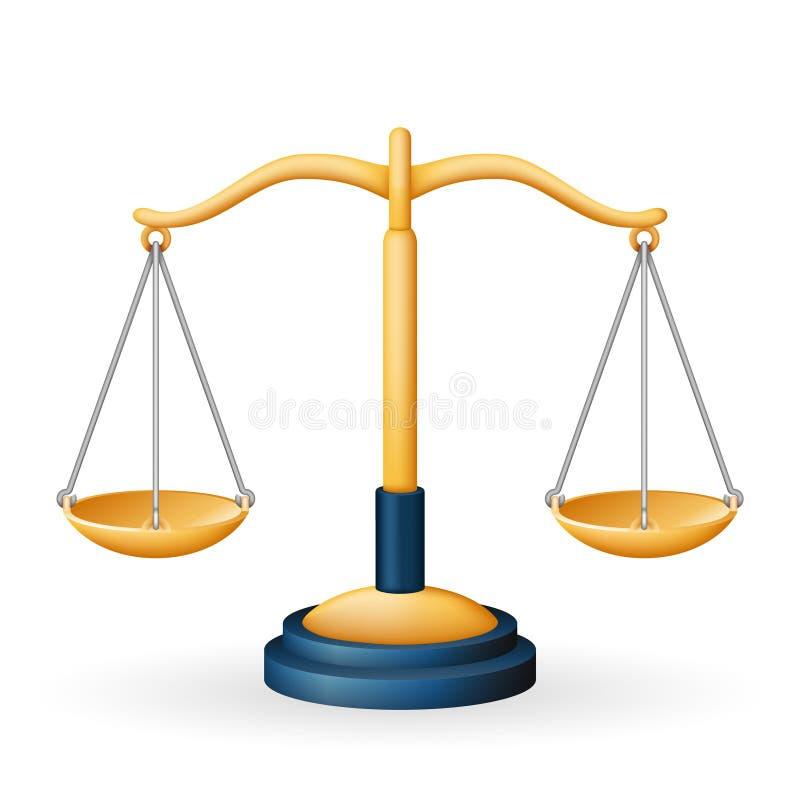 Το χρυσό σύμβολο μέτρου ισορροπίας ισότητας νόμου κλιμάκων δικαιοσύνης απομόνωσε εικονιδίων τη ρεαλιστική διανυσματική απεικόνιση ελεύθερη απεικόνιση δικαιώματος
