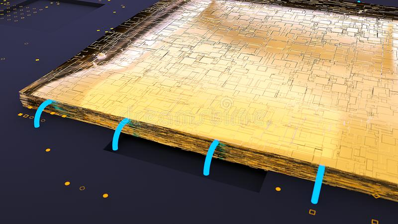 Το χρυσό τσιπ ΚΜΕ τρισδιάστατη απόδοση απεικόνιση αποθεμάτων