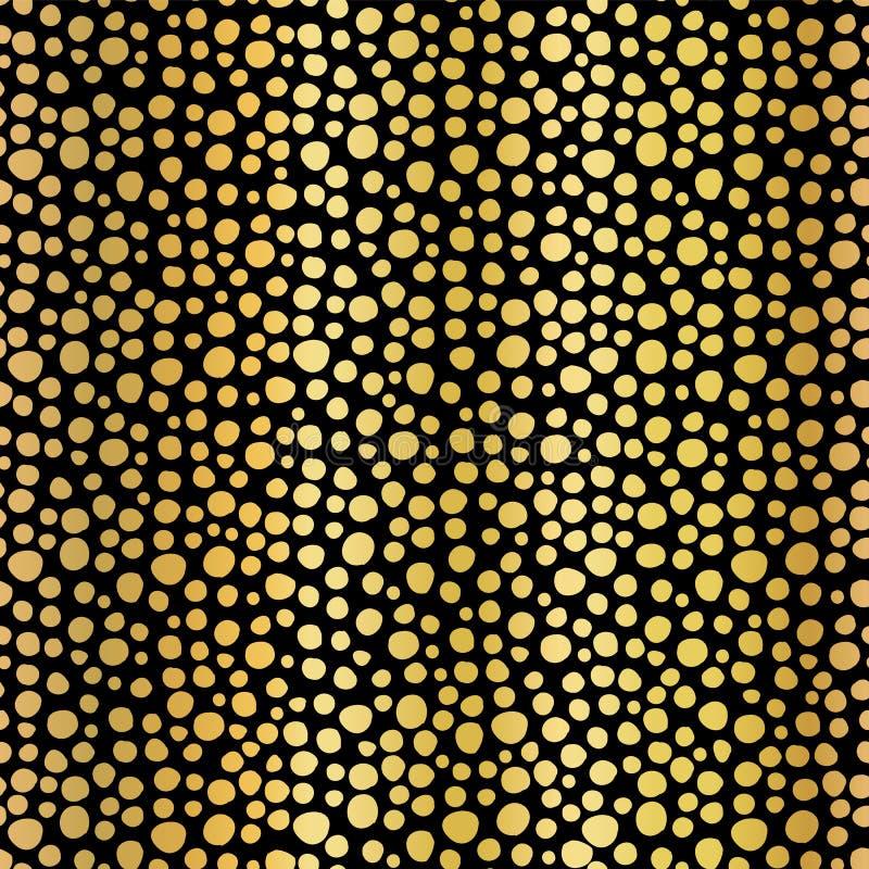 Το χρυσό φύλλο αλουμινίου διαστίζει το άνευ ραφής διανυσματικό υπόβαθρο σχεδίων Λαμπρές μεταλλικές χρυσές ανώμαλες μορφές κύκλων  απεικόνιση αποθεμάτων