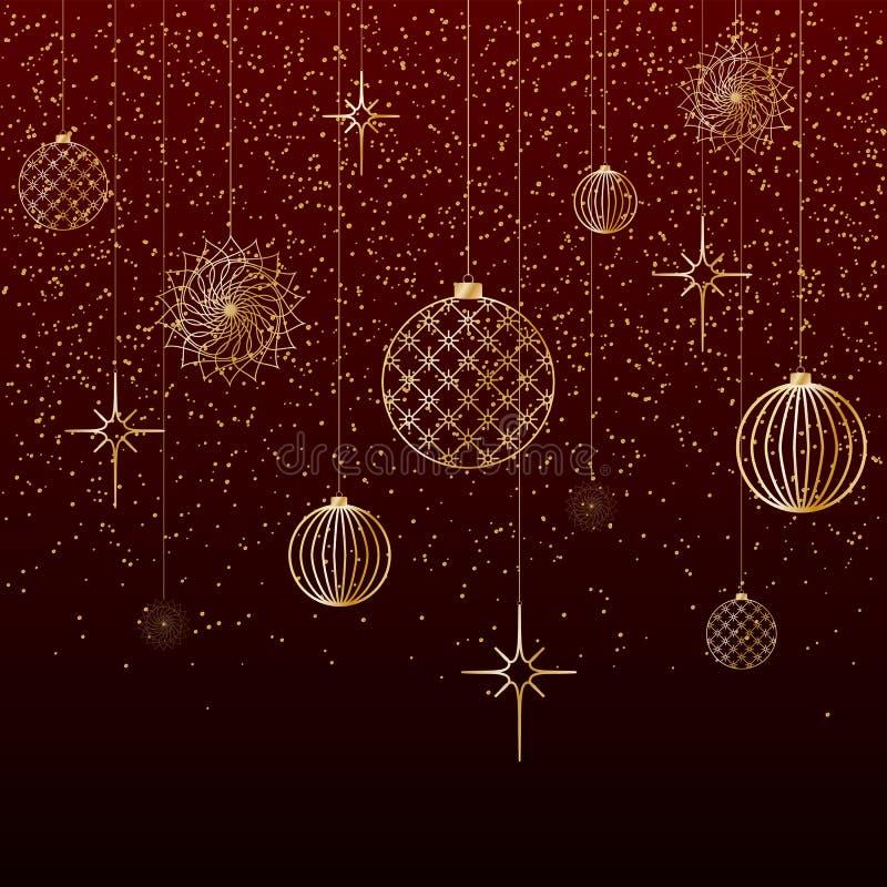 Το χρυσό χιόνι αστεριών παιχνιδιών σφαιρών υποβάθρου Χριστουγέννων ακτινοβολεί σε ένα κόκκινο εορταστικό υπόβαθρο υποβάθρου Α για απεικόνιση αποθεμάτων