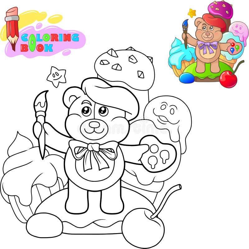 Το χρωματίζοντας βιβλίο, χαριτωμένος teddy κινούμενων σχεδίων αντέχει με έναν θύσανο απεικόνιση αποθεμάτων