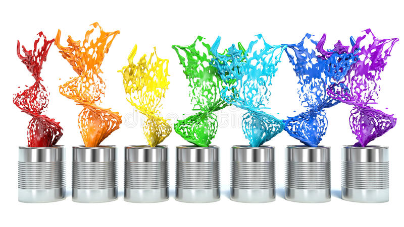 Το χρωματισμένο ράντισμα χρωμάτων από μπορεί, απομονωμένος στο άσπρο υπόβαθρο απεικόνιση αποθεμάτων