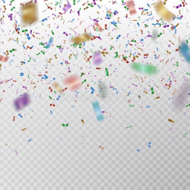 Το χρώμα ακτινοβολεί διάνυσμα κομφετί Tinsel εγγράφου Carnaval σύσταση που απομονώνεται στο υπόβαθρο Κομφετί κόμματος απεικόνιση αποθεμάτων