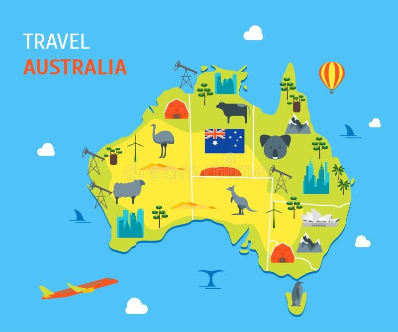Το χρώμα Αυστραλία κινούμενων σχεδίων ανακαλύπτει το ταξίδι έννοιας διάνυσμα απεικόνιση αποθεμάτων