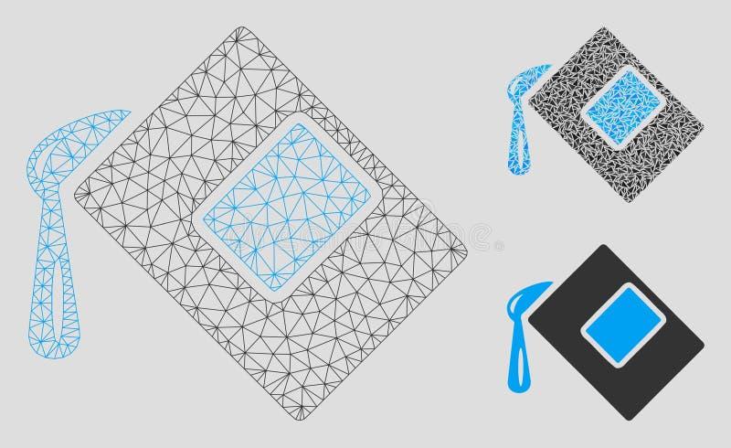 Το χρώμα γεμίζει το διανυσματικά πρότυπο πλαισίων καλωδίων πλέγματος και το εικονίδιο μωσαϊκών τριγώνων διανυσματική απεικόνιση