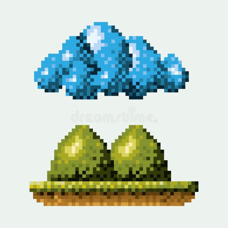 Το χρώμα το δασικό τοπίο στο λιβάδι με τα βουνά και το σύννεφο διανυσματική απεικόνιση